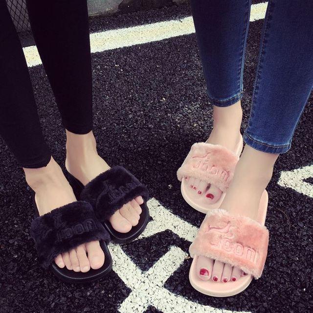 2017 Women Summer Slippers fenty slipper Rihanna shoes sandals Flip Flop Plush Cute Furry Mule Lady's Flip Flop Shoe