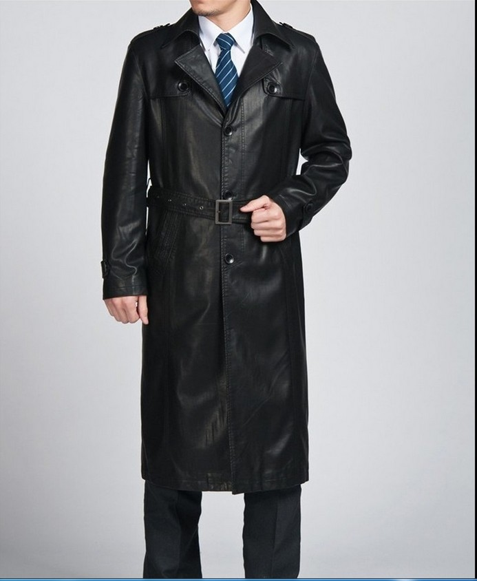 Classic Brand Men Genuine Leather Trench Coat Long Man Sheepskin ...