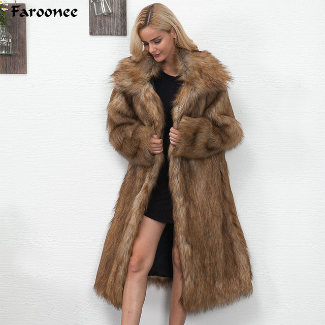 b7923d3f652 2018 Winter Women Plus Size Faux Fur Coat Long Slim Thicken Warm Hairy  Jacket Fashion Warm Outwear Artificial Fur Coat