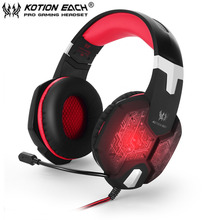 KOTION EACH G1000 Professional 3.5mm PC Gaming Bass Stereo Headset Microphone Noise Lsolation LED Light For Laptop Computer
