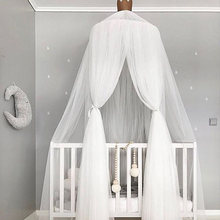 Round Dome Hanging Mosquito Net Canopy Cotton Curtain Bed Tent Circular Hanging Home Decoration Solid Color For Kid Baby Bedding(China)