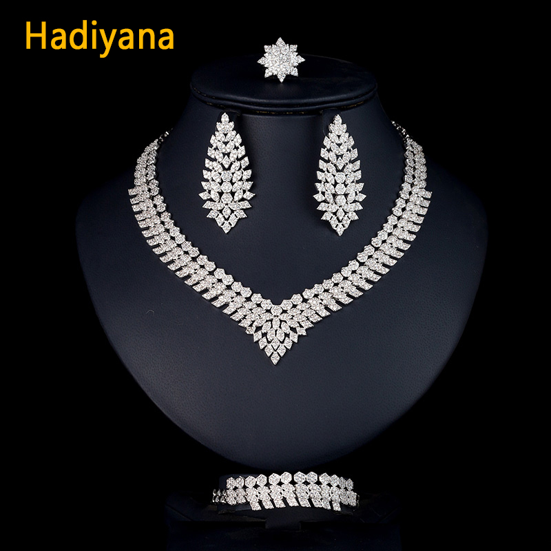Hadiyana luxury AAA Cubic Zircons Wedding Bridal Jewelry Sets For Women Necklace Earrings Ring And Bracelet 4pcs Set Party CN786 a suit of stylish faux sapphire rhinestone necklace bracelet earrings and ring for women