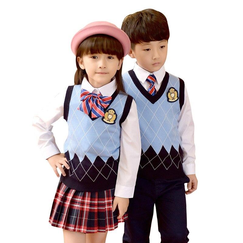 Children Cotton 2018 Fashion Student School Uniforms Set Suit Girls Boys Sweater Vest Short Shirt Skirt Pants Tie Sets 2-10T