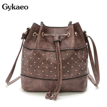 box design chinese tower print pu leather ladies bucket bag chain shoulder bag crossbody mini messenger bag for women handbag Gykaeo Fashion Bucket Shoulder Bag Women Drawstring Crossbody Bag Female Messenger Bags Ladies PU Leather Handbag Sac A Main
