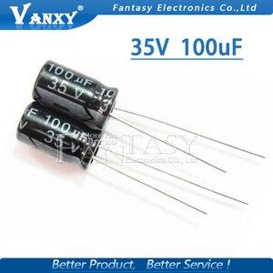 Image 5 - 50 Stuks Higt Kwaliteit 35V 100Uf 6*12Mm 100Uf 35V 6.3*12 Elektrolytische condensator