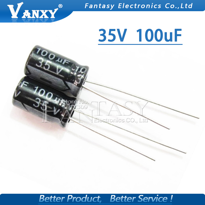 50PCS Higt Quality 35V 100UF 6*12mm 100UF 35V 6.3*12 Electrolytic Capacitor