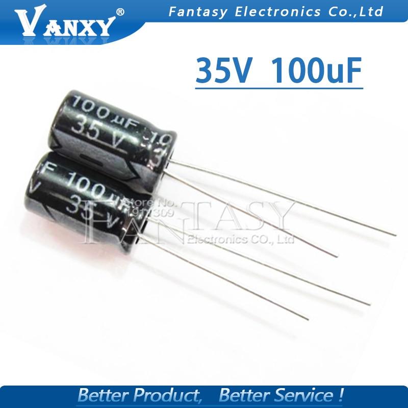 50PCS Higt Quality 35V 100UF 6*12mm 100UF 35V 6.3*12 Electrolytic Capacitor