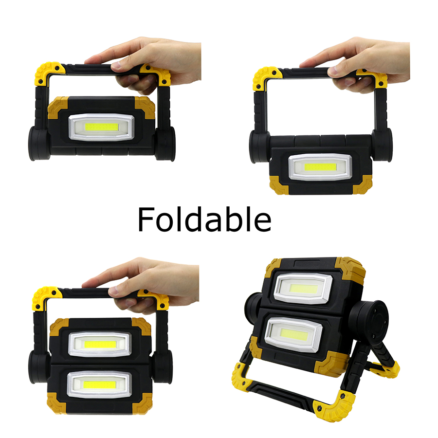 Купить с кэшбэком Foldable 20W COB LED Work Light COB Lanterna Flashlight Outdoor Hand Torch Tent Lamp Portable Spotlight For Hunting Camping