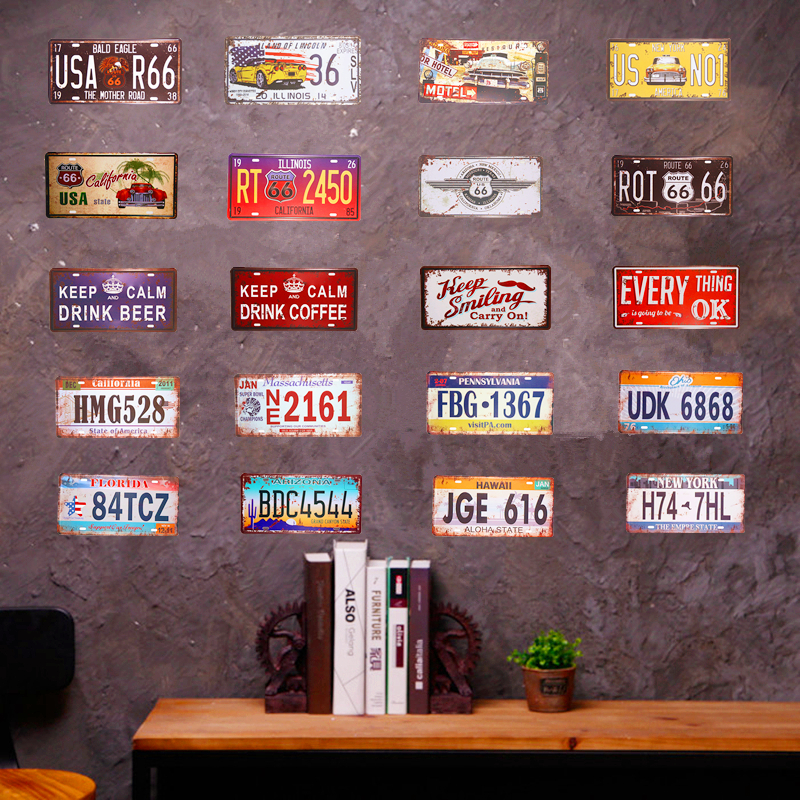 Shabby chic Retro Metal Tin sign Car License plate Route 66 Motorcycle Garage With Striking, Home Decor, Man Cave