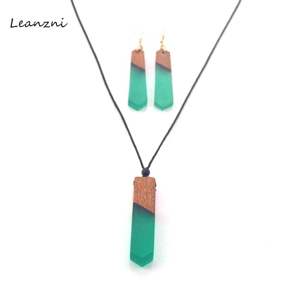 Leanzni антикварные деревянные смолы кулон костюм, зеленый ювелирные изделия, трикотажные веревки, подарок, оптовая продажа Цепочки и ожерелья