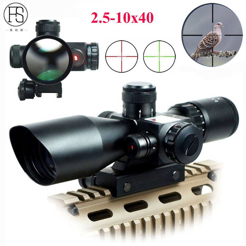 Hot!Tactical Riflescope 2.5-10x40 Optics Red Laser Holographic Sight Scope Illuminated Shooting Hunting Scope 11/20mm Rail Mount hot sale 2 5 10x40 riflescope illuminated tactical riflescope with red laser scope hunting scope