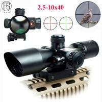 Hot!Tactical Riflescope 2.5 10x40 Optics Red Laser Holographic Sight Scope Illuminated Shooting Hunting Scope 11/20mm Rail Mount