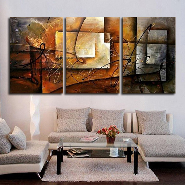 Hand Painted Modern Abstract Oil Painting Wall Art Canvas Set 3 Panel  Realistic Home Decoration Picture