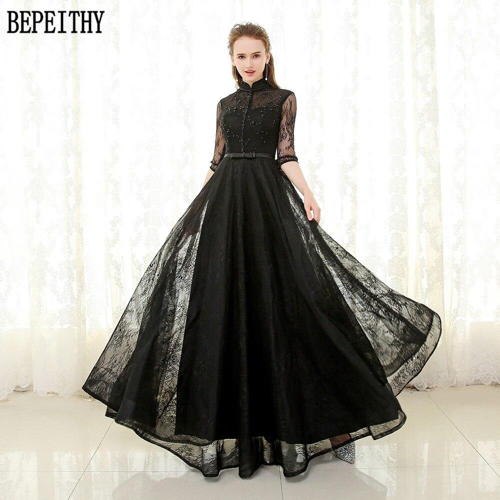 BEPEITHY robe De Festa 2019 nouveauté a-ligne Tulle haut-cou dentelle perles noir robe De bal demi manches longues robes De soirée