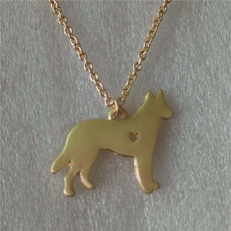 45847a6a4ba04 10pcs D022_Fashion German Shepherd Necklace Gold/Silver Dog Pet ...