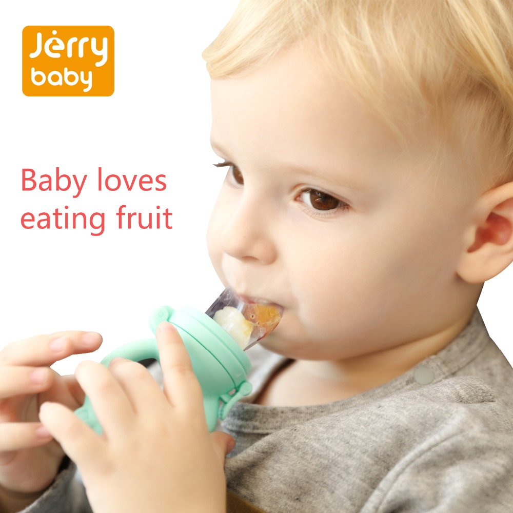 Jerrybaby bebé pezón alimento alimentador seguro chupete alimentación botellas herramienta niños malla dientes mordedura fruta suministros pezón