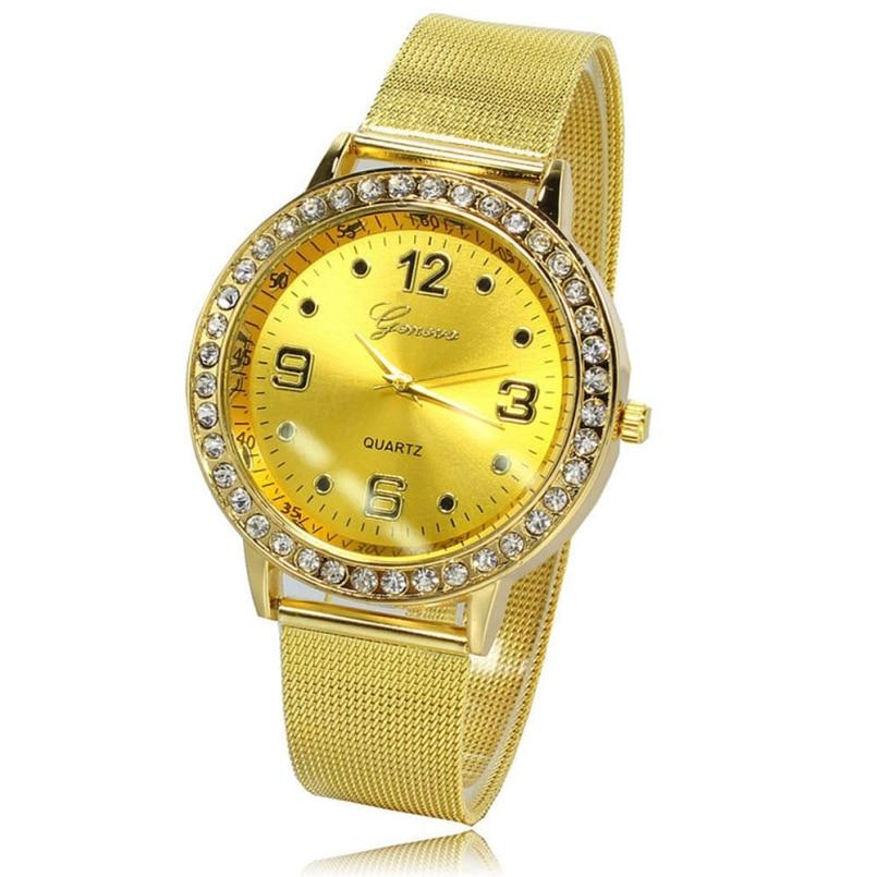 Excellent Quality 2016 New Fashion Luxury Famous Brand Ladies Gold Quartz Wristwatches Women Watches Relojes Mujer Montre Femme
