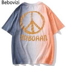 Bebovizi Streetwear Style Peace Sign Print T-Shirts Men Hip Hop Pocket Colorful T Shirt Summer Tshirt Harajuku Oversized Tops