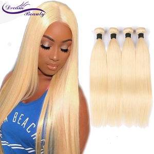 Image 2 - Dream Beauty Brazilian Straight Hair Bundles Weave 1 PC Blonde Full 613 Color Non Remy 100% Human Hair Extensions 10 28Inch