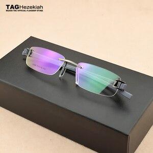 Image 2 - Senza cornice di vetro del telaio uomini TAG di Marca occhiali da vista frames uomini Miopia del computer vetri ottici telaio Ultraleggero movimento occhiali da vista