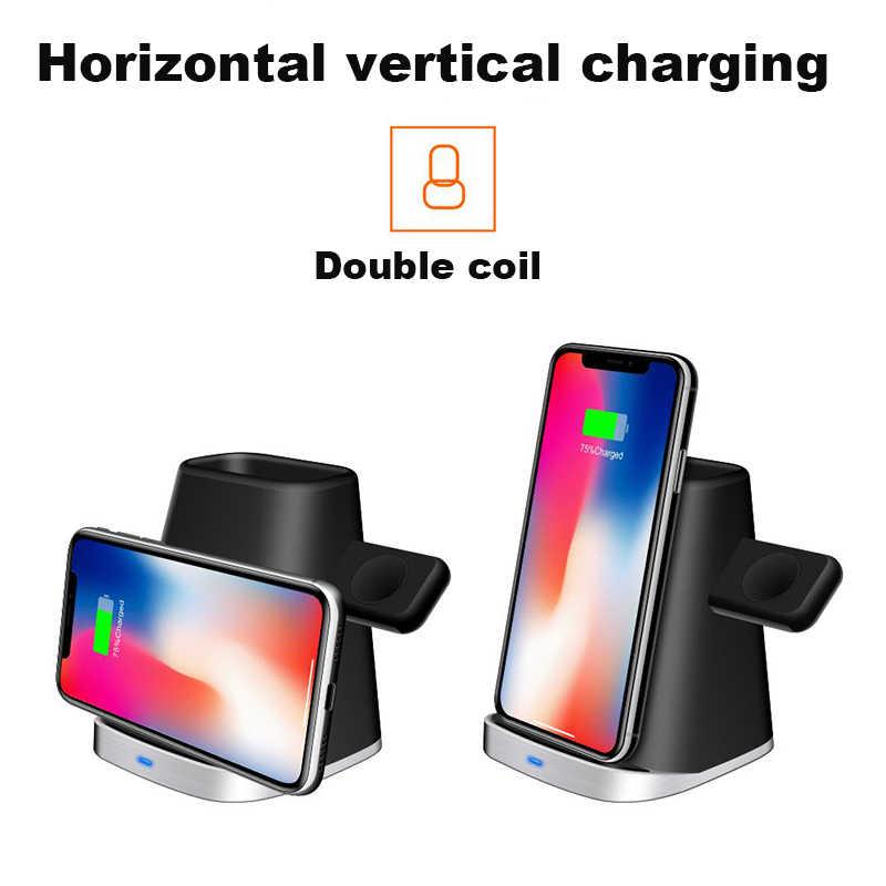 3 w 1 QI szybka ładowarka Qi bezprzewodowa ładowarka samochodowa do iPhone samsung bezprzewodowy do ładowania stojak dokujący pokrowiec do Apple zegarek Airpod