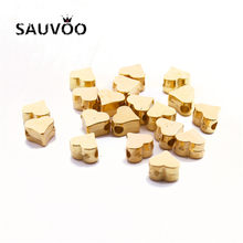 SAUVOO 200pcs/lot CCB Heart Shape Bracelets Charm Beads 5.5*5.8mm 1.5mm Hole Size Gold Silver Color DIY Jewelry Making Beads(China)