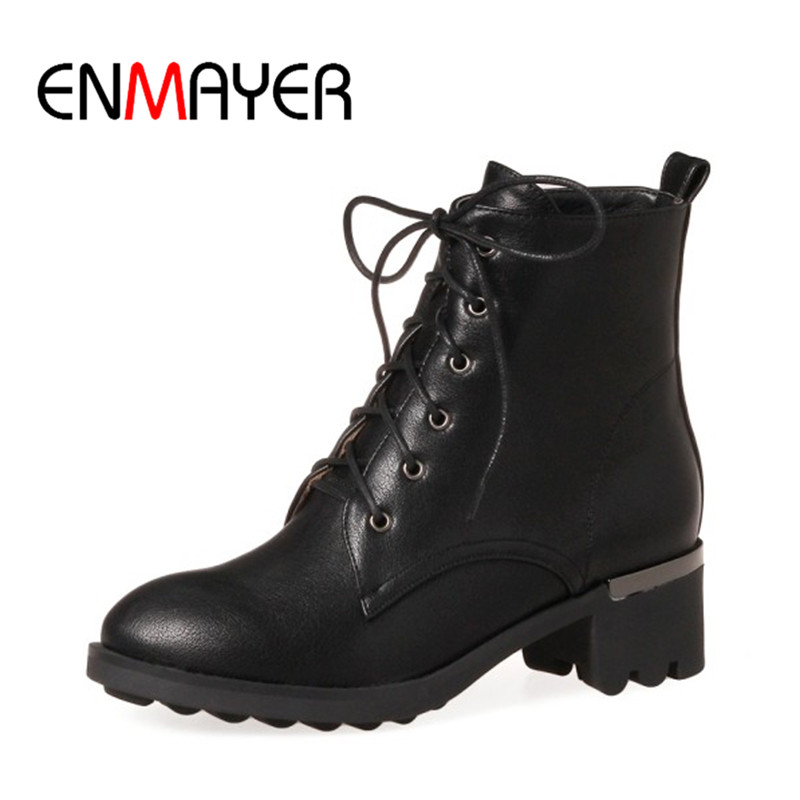 ENMAYER 2017 New Fashion Ankle Boots Lace-up Black Gray Warm Shoes Woman Motorcycle Boots Winter Boots Large Size Shoes for Lady enmayer winter woman boots pointed toe lace up shoes winter warm boots black red 2017 new fashion shoes ankle boots big size