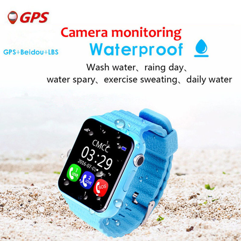 Kids Smart Watch V7K Security Anti lost GPS Tracker Waterproof Watch 1.54'' Screen With Camera Kid SOS Emergency For IOS&Android