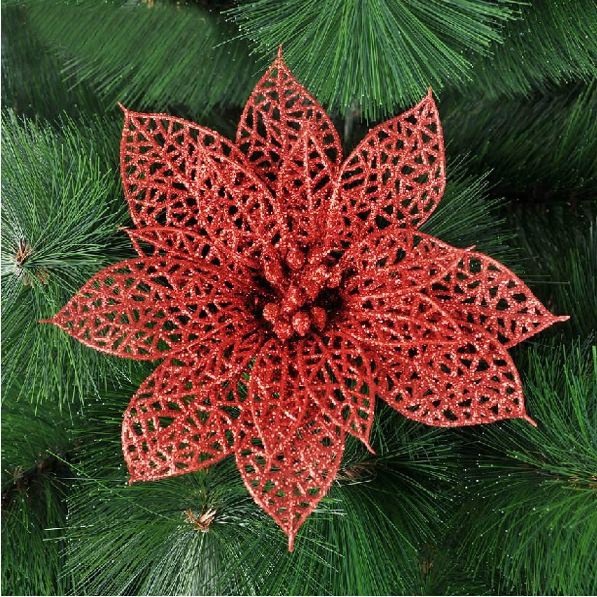 Алим Новые украшения для Рождество дерево-элегантный 13 см блесток Цветы приостановлено с Рождество дерево-незаменимая украшения