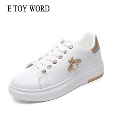 E TOY WORD 2019 New Fashion Rhinestone Sneakers Women Shoes Breathable PU Leather Platform White Women Sneakers Basket femme sneakers e goisto sneakers