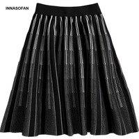INNASOFAN knitwear miniskirt Womens Spring summer striped high waist skirt Euro American fashionable elegant skirt