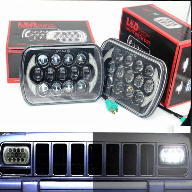5 x 7 LED Headlights 5 x 7 LED Rectangular Headlights fit for Jeep Cherokee XJ Wrangler YJ Comanche MJ Trucks Off Road 5 x 7 6x7inch rectangular led headlights for jeep wrangler yj cherokee xj trucks 4x4 offroad headlamp replacement h6054 h5054