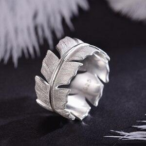 Image 2 - Lotus весело Настоящее серебро 925 проба Натуральный ручной работы дизайнер ювелирных украшений элегантные мягкие кольца с перьями для Для женщин Bijoux