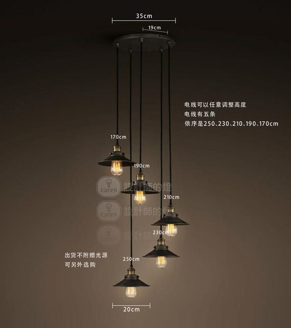 American Loft Rh Edison Ceiling Light Chandelier Haning Lamp 3 Or 5 Bar Hall
