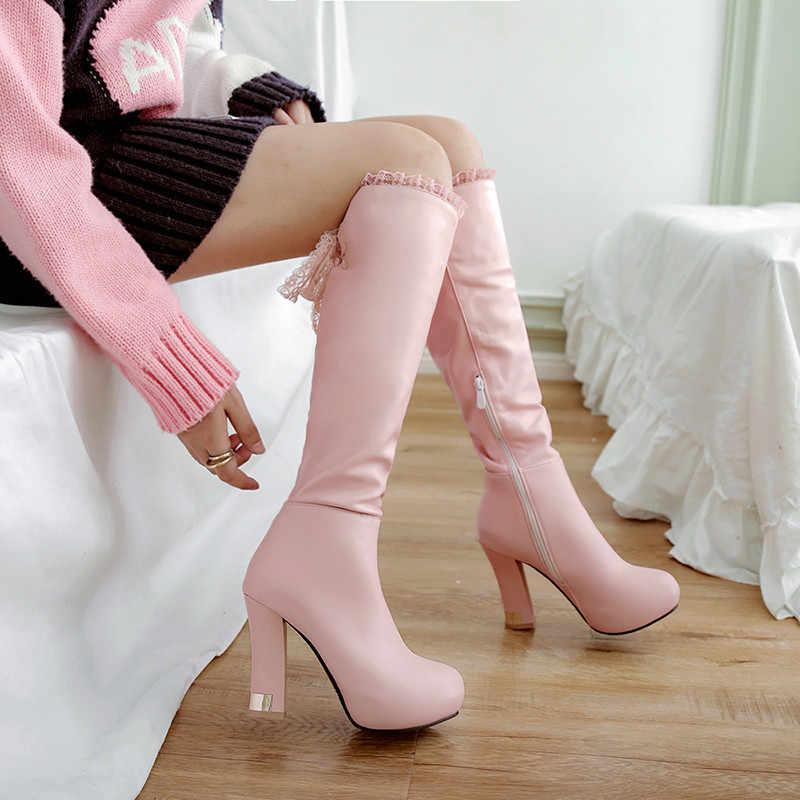 YMECHIC 2018 Fashion Sweet Pink White Ribbon Cross Tied Lace Ruffles  Platform Knight Riding High Heels d64c5979c1f3