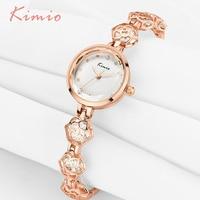 KIMIO Womans Watch Ladies Camellia Flower Watch Rose Gold Bracelets For Women Luxury Brand Quartz Dress