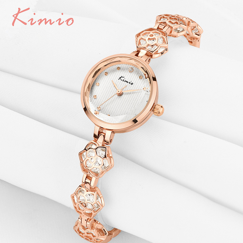 KIMIO Womans Watch Ladies Camellia Flower Watch Rose Gold Bracelets For Women Luxury Brand Quartz Dress Wrist Watches For Women women watches bracelet watch ladies kimio simple roman numerals dial rose gold luxury brand quartz womans wrist watches