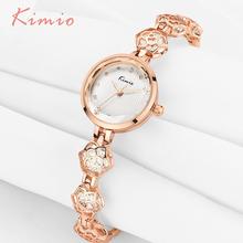 KIMIO Womans Watch Ladies Camellia Flower Watch Rose Gold Bracelets For Women Luxury Brand Quartz Dress Wrist Watches For Women