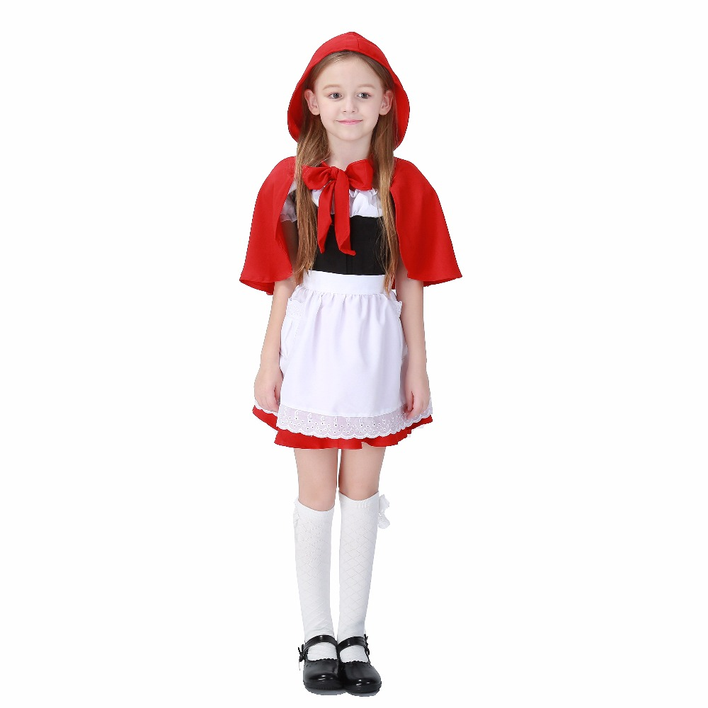 Children Halloween Costume Hoodie Robe Cloak For Kid Girls Little Red Riding Hood Short Sleeve Lace Dress Suit Free Shipping