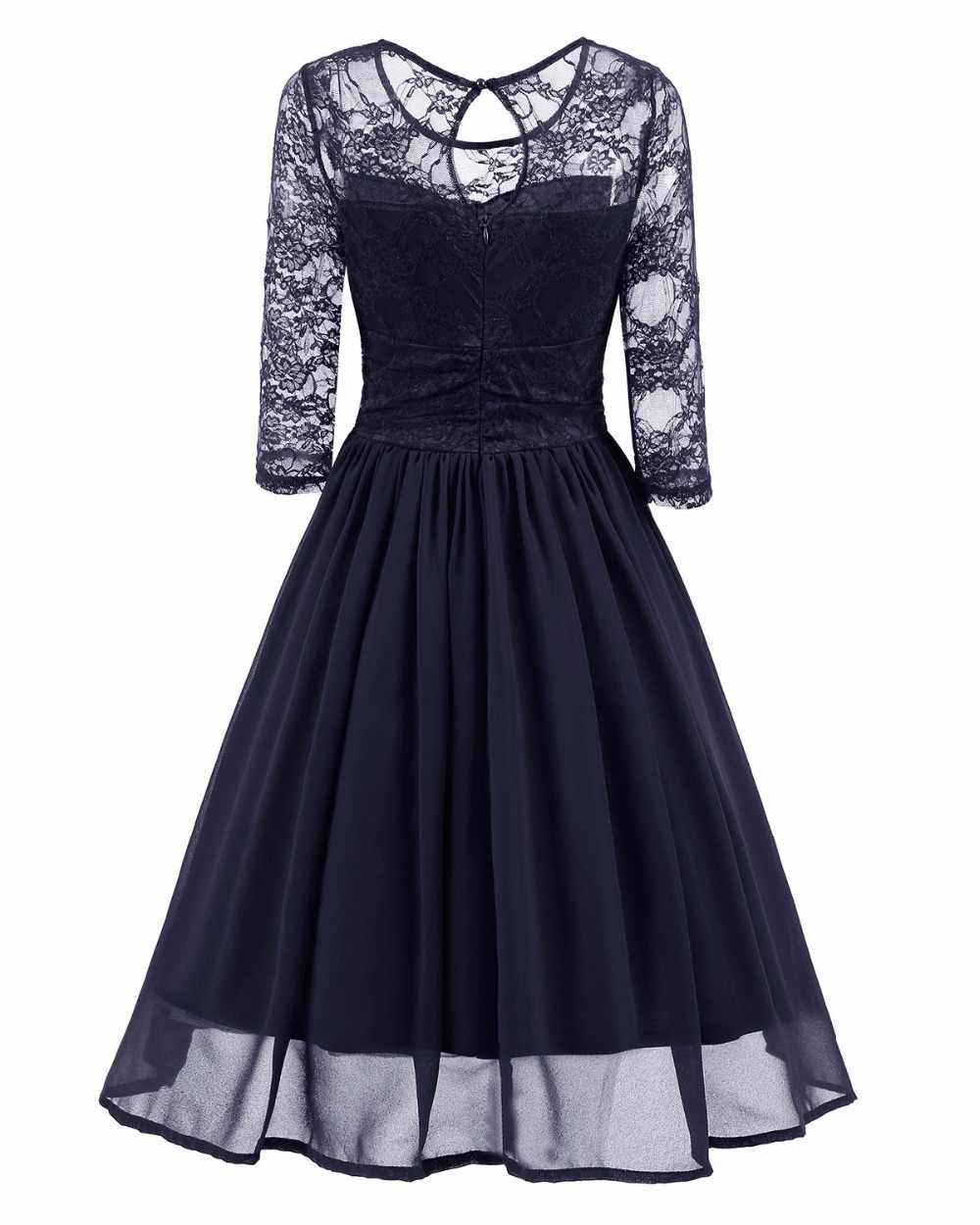 Robe De Soriee New Bridesmaid Dresses Short Navy Blue Lace Long Sleeve Elegant Fall Winter Purple Red Bride Banquet Formal Gown