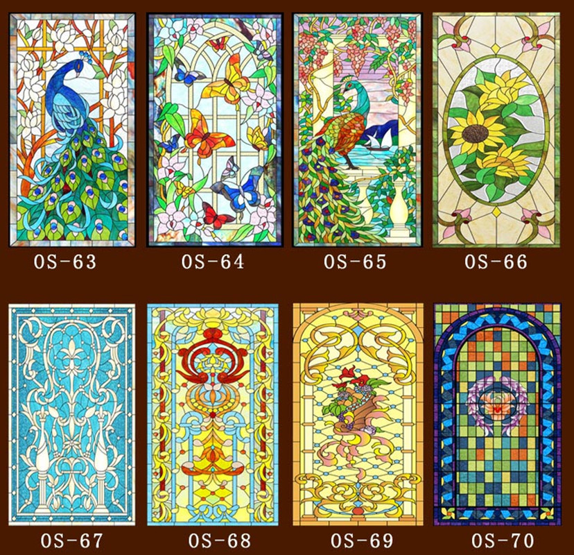 60cm*100cm/pcs Custom No glue static window sticker scrubs  translucent church stained glass windows film glass door sliding