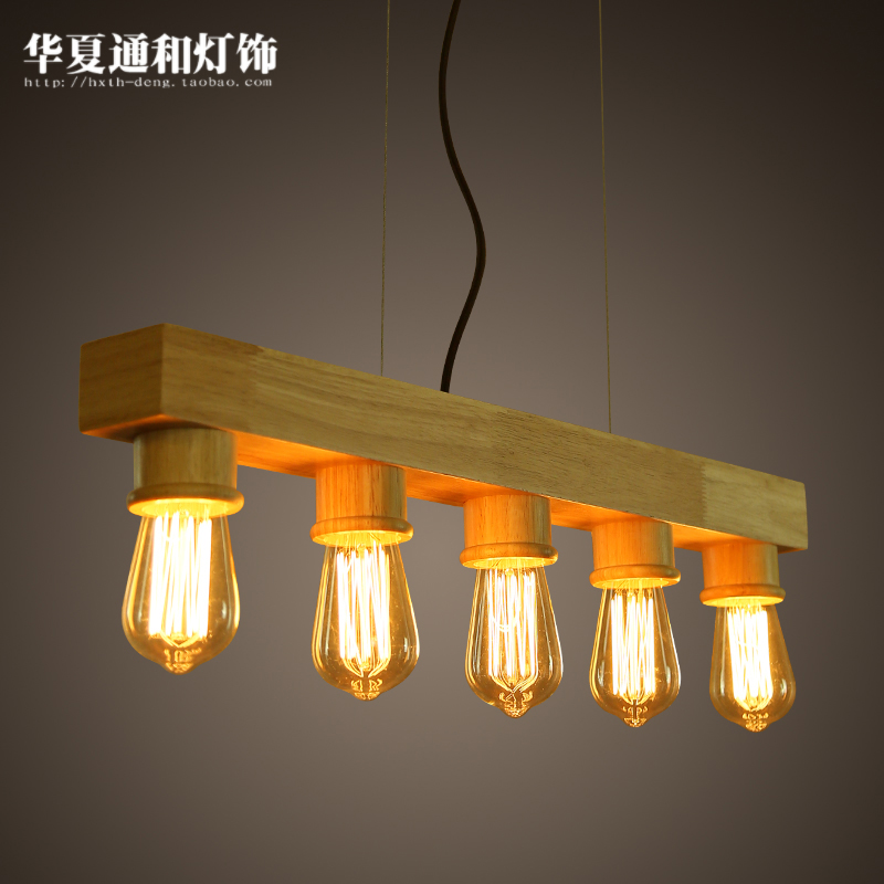 Personalized creative simplicity of modern pendant lights retro bar lamp Cafe study bedroom dining room living room oak a1 master bedroom living room lamp crystal pendant lights dining room lamp european style dual use fashion pendant lamps