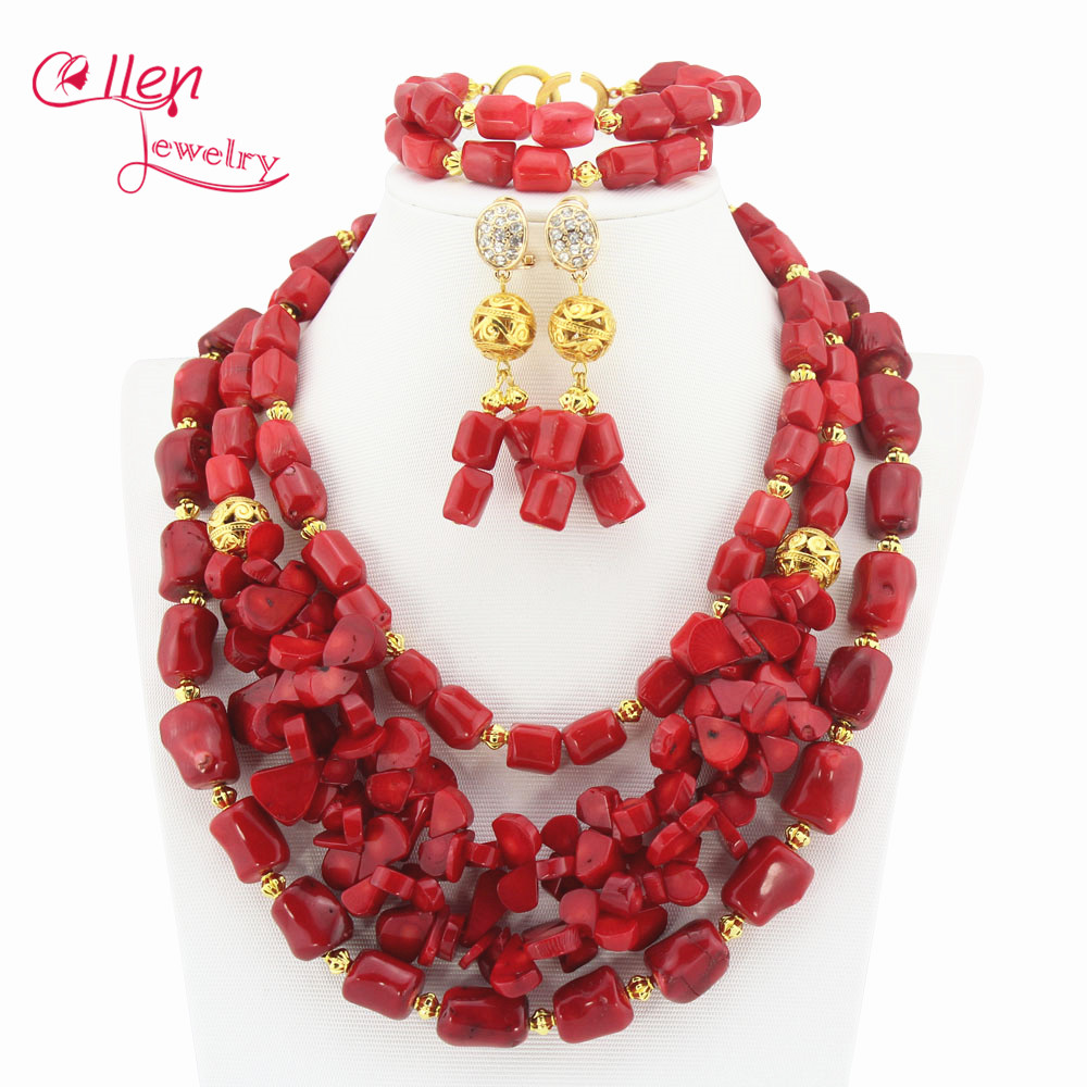 цены New Design Red Coral beaded Jewelry Set Coral Necklace Bracelet And Earrings nigerian Wedding African beads Jewelry Set TL1166