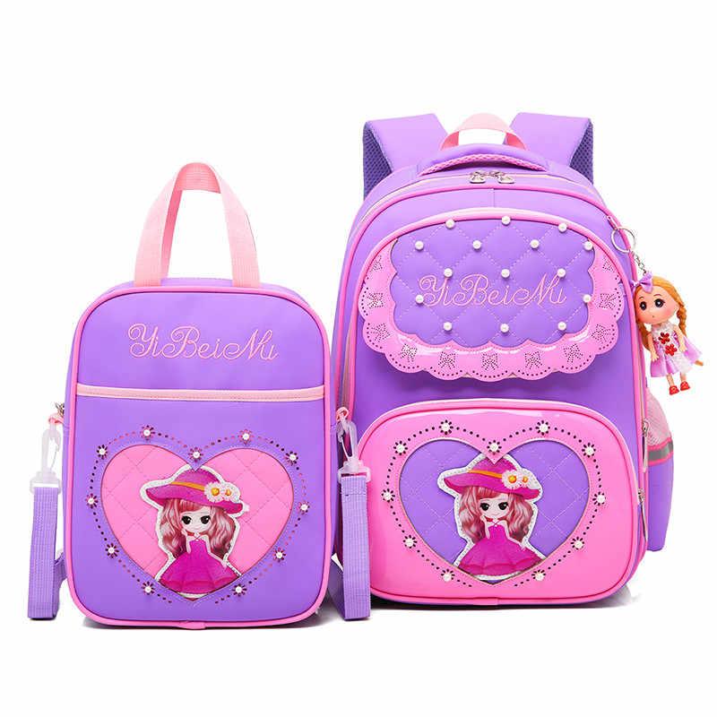 2 pçs/sets Sacos De Escola Para Meninas Doce Bonito meninas Princesa Dos Desenhos Animados Crianças Mochila Crianças Rendas Mochila Mochila Escola Primária
