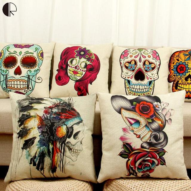 Beautiful Halloween Mexican Sugar Skull Cushion (No inner) Decorative Throw  JN84