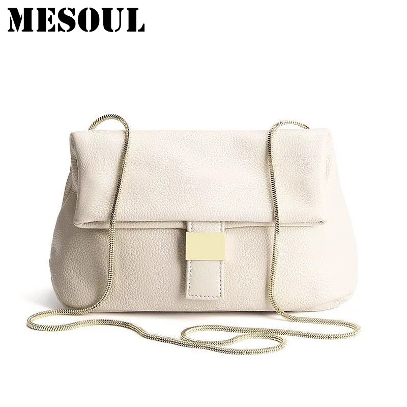 MESOUL Summer Crossbody Bags For Women Genuine Leather Shoulder Bag Female purses High Quality Solid Soft Hasp Fashion Chain Bag women shoulder bags for female fashion pu leather handbags chain solid shoulder bag mini bags woman messenger bag purses d38m12