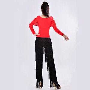Image 3 - 新2019ラテンモダンダンススーツ女性/女の子セクシーな縞ロング社交/タンゴ/ルンバ/ラテンドレス衣類ダンサー