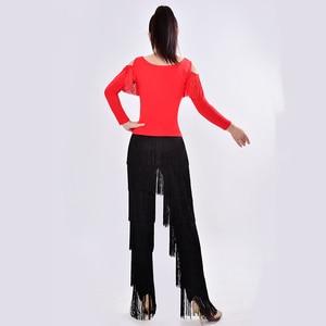 Image 3 - New 2019 Latin Modern Dance Suits Women/girls Sexy Fringes Long Pants Ballroom/tango/rumba/latin Dresses Clothings For Dancer