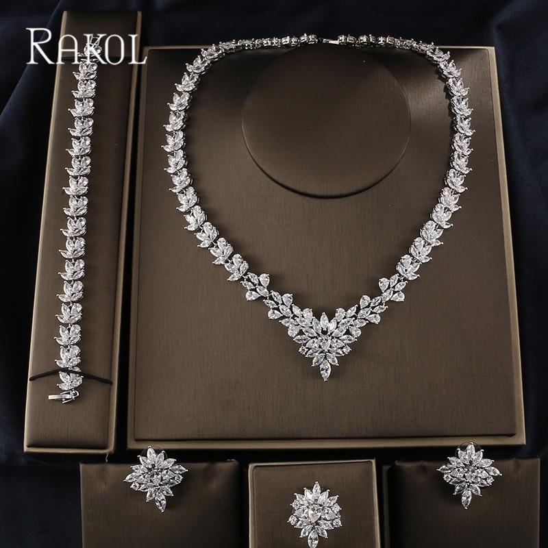 RAKOL Luxury Shiny AAA Cubic Zircon Camellia Necklace Earrings Bracelet Ring Sets For Bridal Wedding Dinner Dress Jewelry  RAKOL Luxury Shiny AAA Cubic Zircon Camellia Necklace Earrings Bracelet Ring Sets For Bridal Wedding Dinner Dress Jewelry