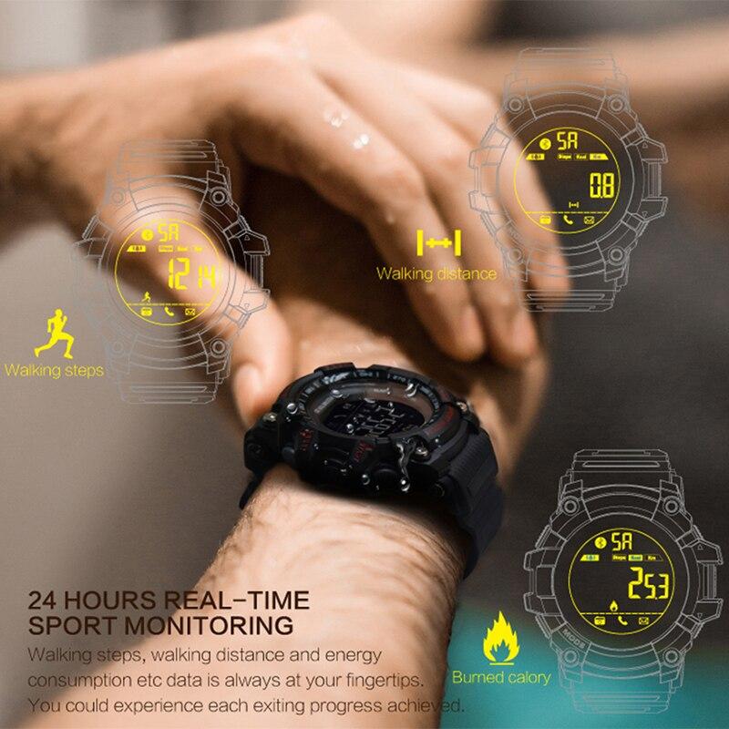 Tiempo propietario reloj Bluetooth EX16 reloj inteligente notificación Control remoto podómetro reloj deportivo IP67 impermeable de los hombres reloj de pulsera